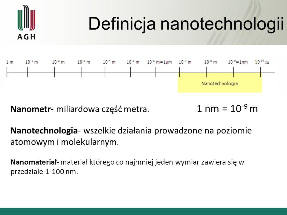 Definicja nanotechnologii Nanometr- miliardowa część metra. 1 nm = 10 -9 m Nanotechnologia- wszelkie działania prowadzone na poziomie atomowym i molek