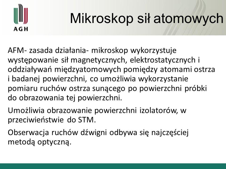 Mikroskop sił atomowych AFM- zasada działania- mikroskop wykorzystuje występowanie sił magnetycznych, elektrostatycznych i oddziaływań międzyatomowych pomiędzy atomami ostrza i badanej powierzchni, co umożliwia wykorzystanie pomiaru ruchów ostrza sunącego po powierzchni próbki do obrazowania tej powierzchni.