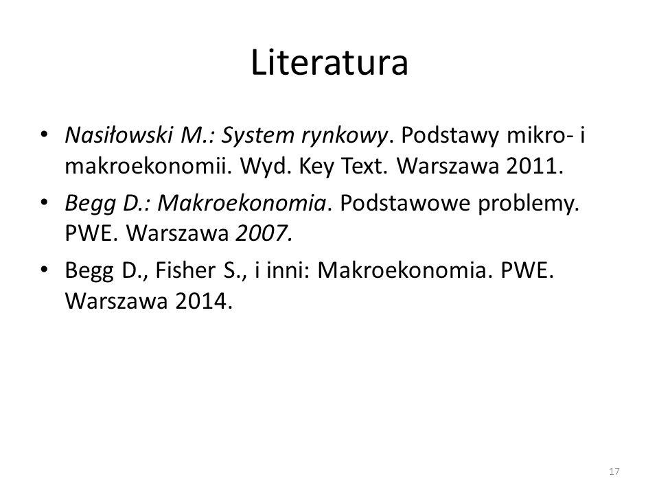 Literatura Nasiłowski M.: System rynkowy. Podstawy mikro- i makroekonomii. Wyd. Key Text. Warszawa 2011. Begg D.: Makroekonomia. Podstawowe problemy.
