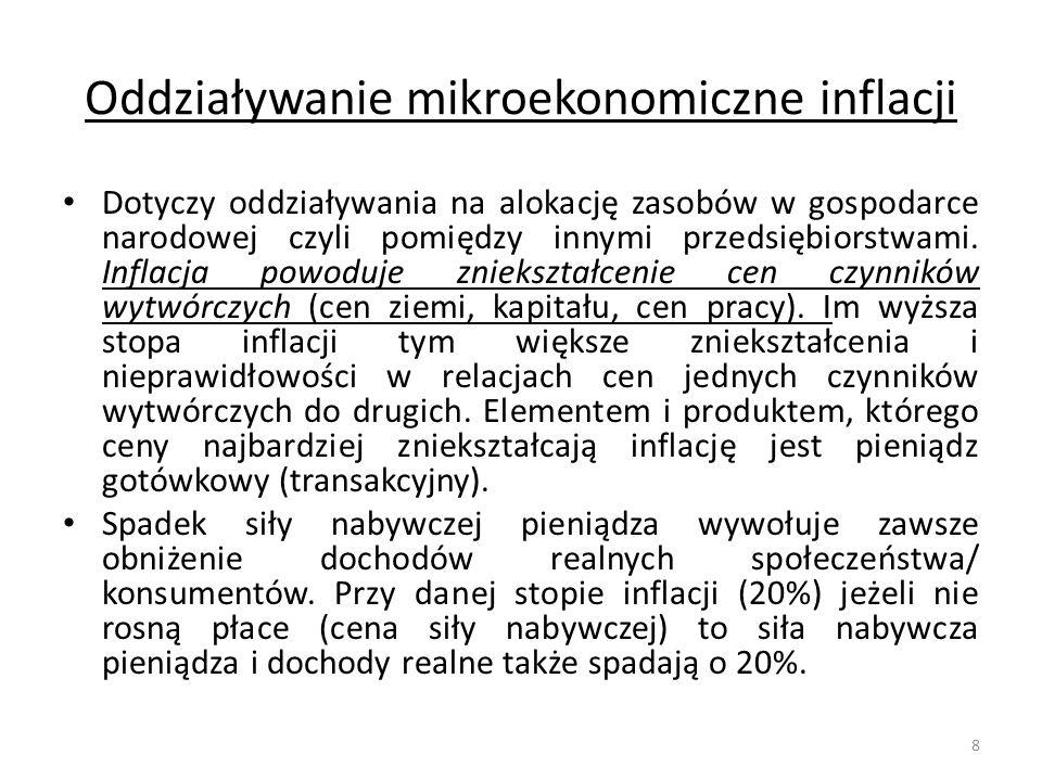 Oddziaływanie mikroekonomiczne inflacji Dotyczy oddziaływania na alokację zasobów w gospodarce narodowej czyli pomiędzy innymi przedsiębiorstwami. Inf