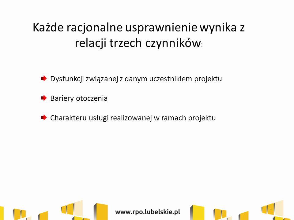 Każde racjonalne usprawnienie wynika z relacji trzech czynników : Dysfunkcji związanej z danym uczestnikiem projektu Bariery otoczenia Charakteru usługi realizowanej w ramach projektu 12