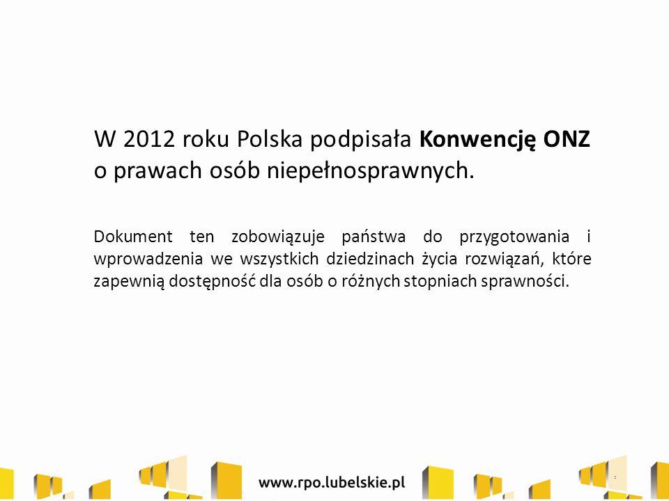 W 2012 roku Polska podpisała Konwencję ONZ o prawach osób niepełnosprawnych.