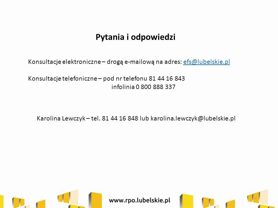 Pytania i odpowiedzi Konsultacje elektroniczne – drogą e-mailową na adres: efs@lubelskie.plefs@lubelskie.pl Konsultacje telefoniczne – pod nr telefonu 81 44 16 843 infolinia 0 800 888 337 40 Karolina Lewczyk – tel.