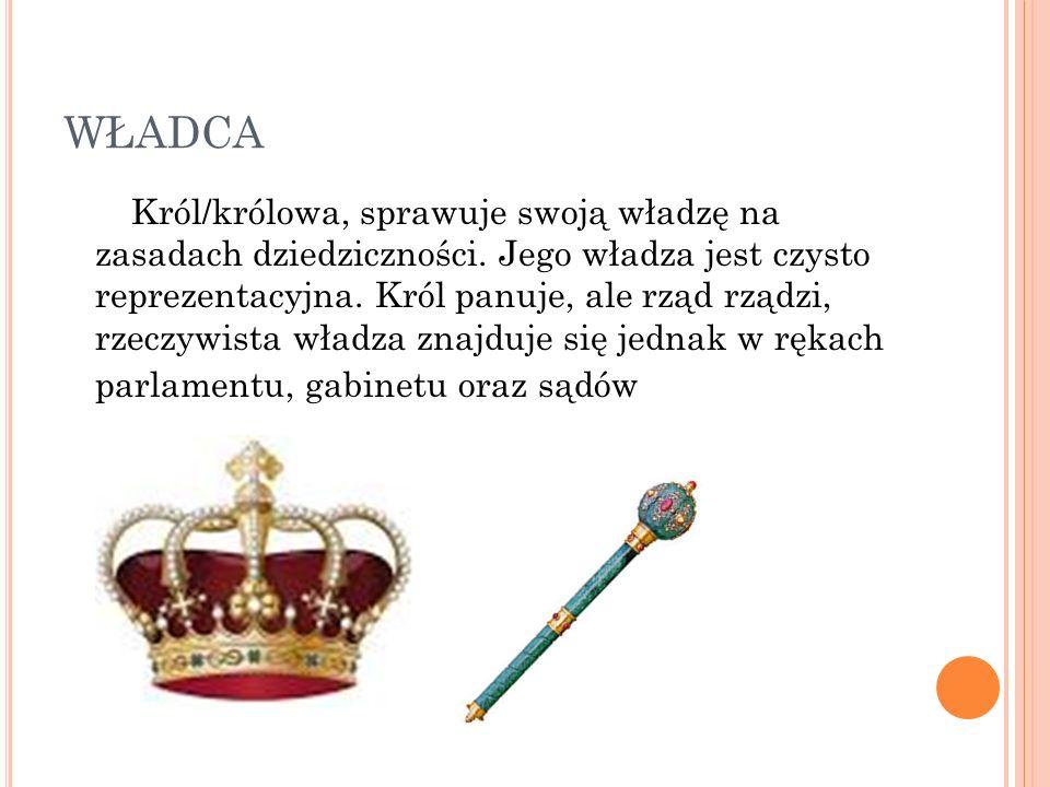 WŁADCA Król/królowa, sprawuje swoją władzę na zasadach dziedziczności.