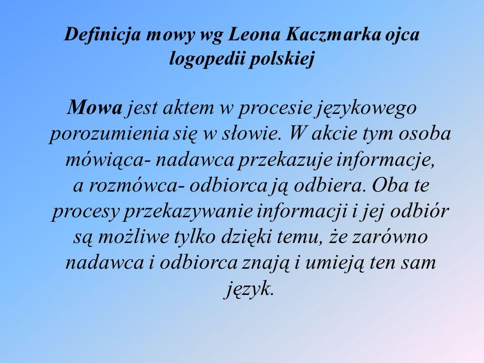 Definicja mowy wg Leona Kaczmarka ojca logopedii polskiej Mowa jest aktem w procesie językowego porozumienia się w słowie.