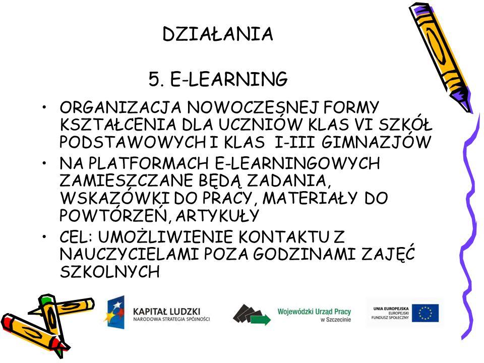 DZIAŁANIA 5. E-LEARNING ORGANIZACJA NOWOCZESNEJ FORMY KSZTAŁCENIA DLA UCZNIÓW KLAS VI SZKÓŁ PODSTAWOWYCH I KLAS I-III GIMNAZJÓW NA PLATFORMACH E-LEARN
