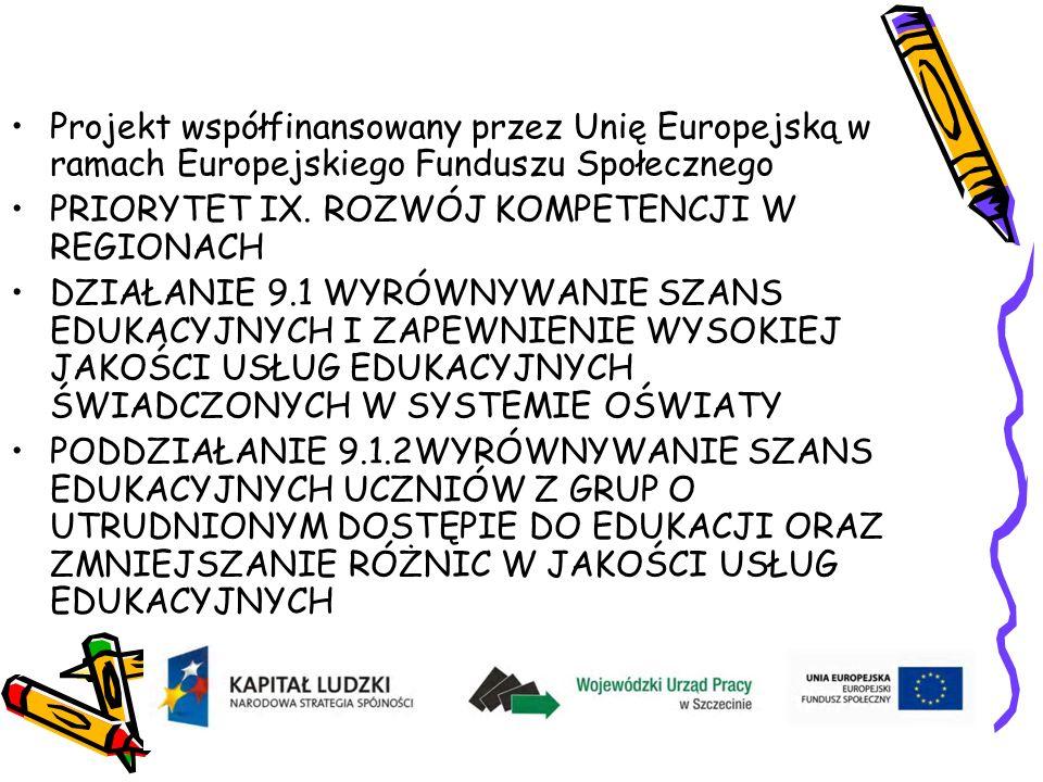 Projekt współfinansowany przez Unię Europejską w ramach Europejskiego Funduszu Społecznego PRIORYTET IX.