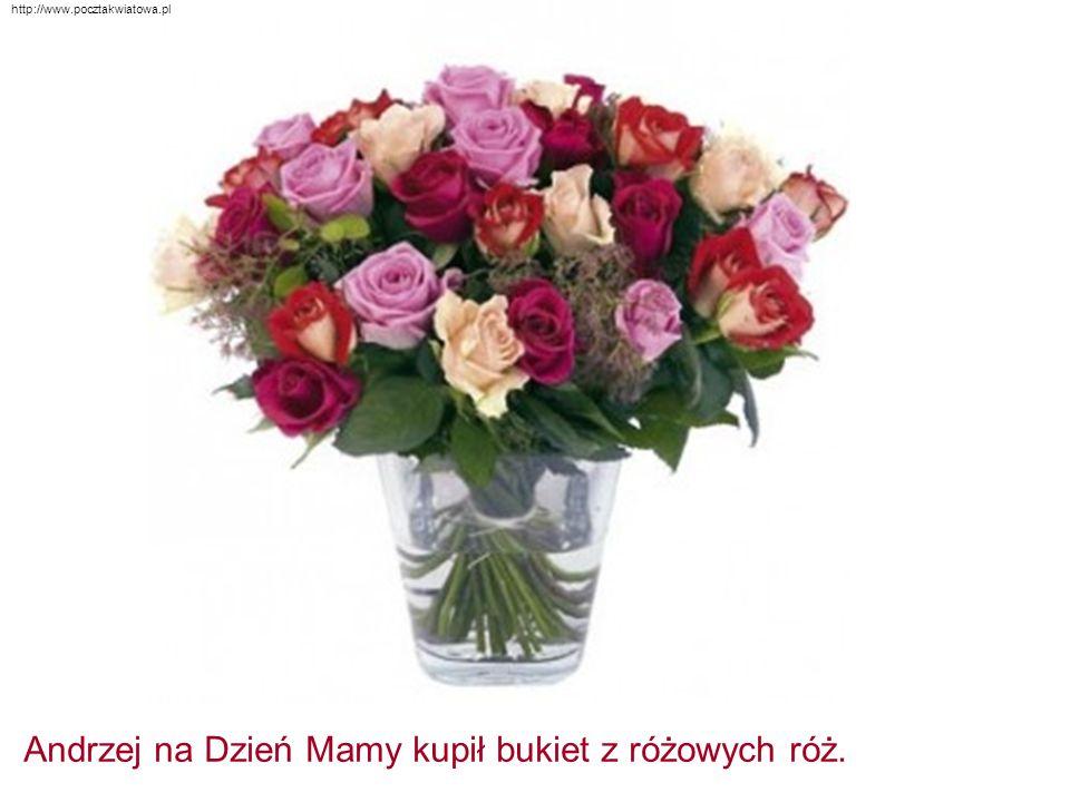 http://www.pocztakwiatowa.pl Andrzej na Dzień Mamy kupił bukiet z różowych róż.