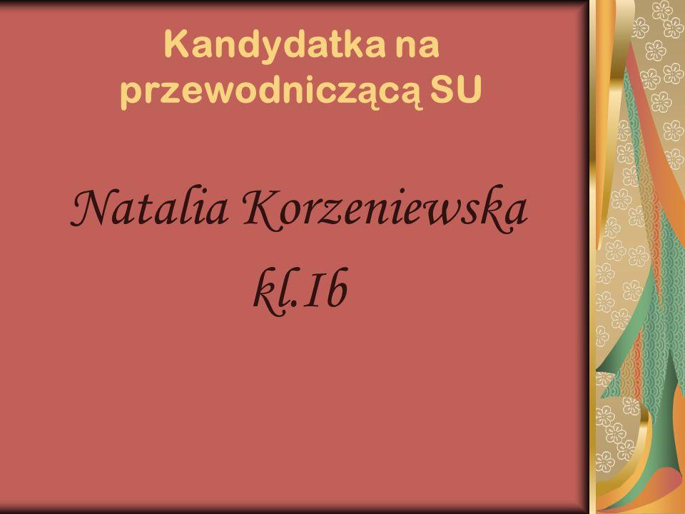 Kandydatka na przewodnicz ą c ą SU Natalia Korzeniewska kl.Ib