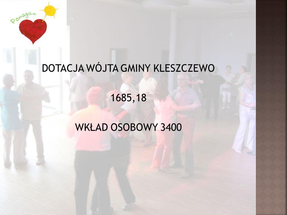 DOTACJA WÓJTA GMINY KLESZCZEWO 1685,18 WKŁAD OSOBOWY 3400