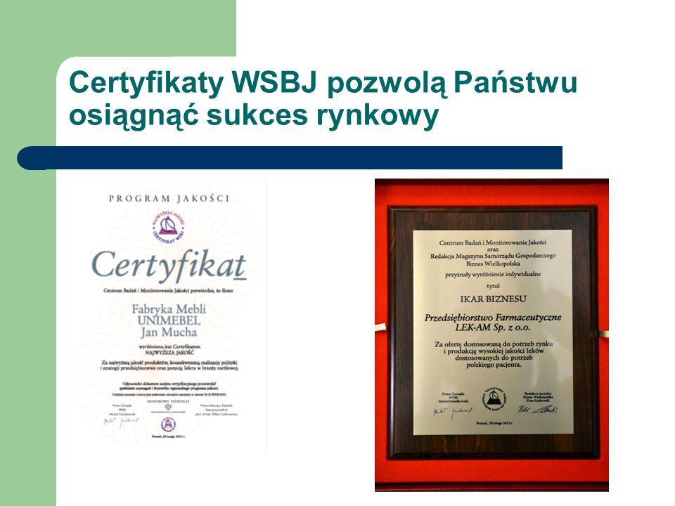Certyfikaty WSBJ pozwolą Państwu osiągnąć sukces rynkowy