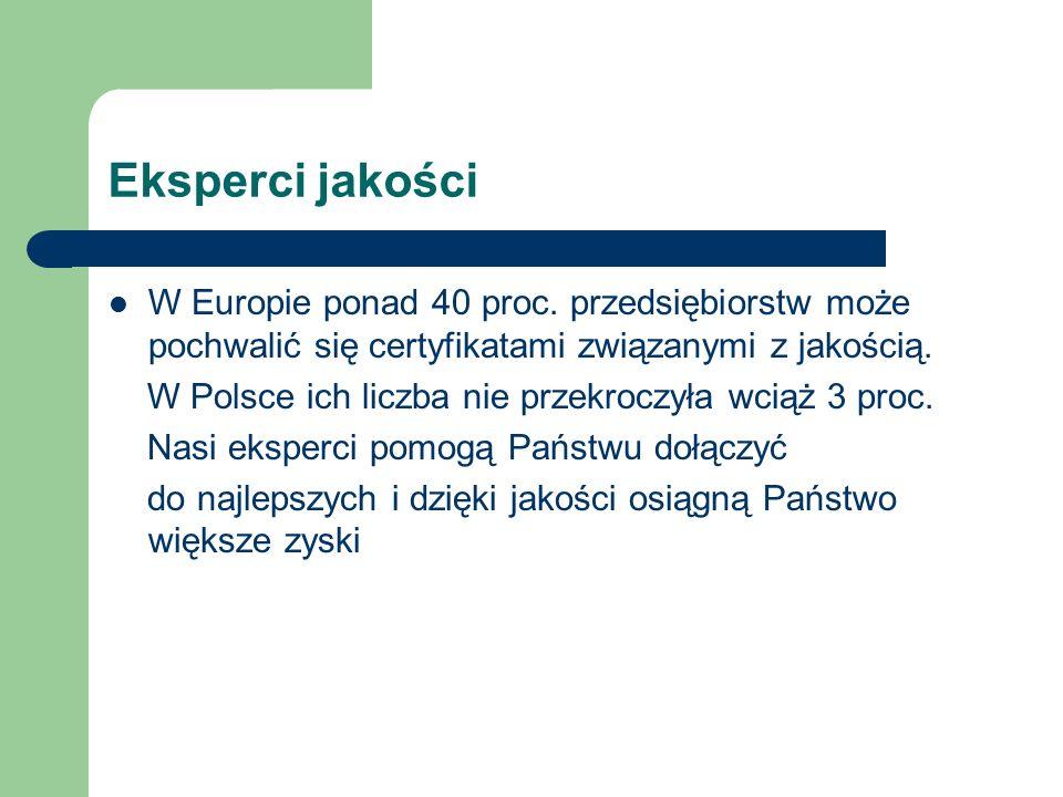 Eksperci jakości W Europie ponad 40 proc.
