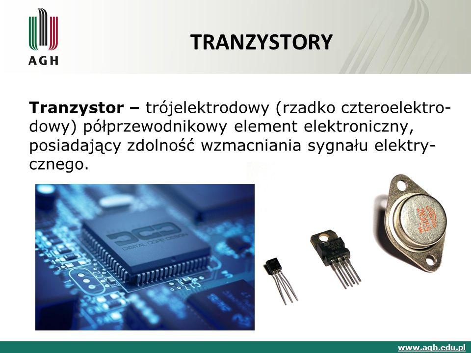 TRANZYSTORY Tranzystor – trójelektrodowy (rzadko czteroelektro- dowy) półprzewodnikowy element elektroniczny, posiadający zdolność wzmacniania sygnału elektry- cznego.