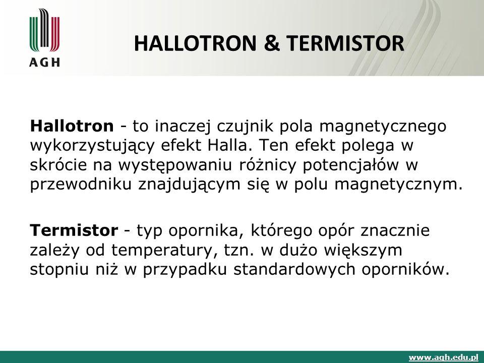 HALLOTRON & TERMISTOR Hallotron - to inaczej czujnik pola magnetycznego wykorzystujący efekt Halla.