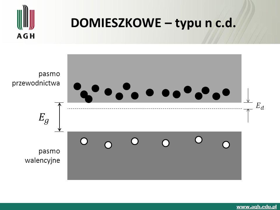 pasmo przewodnictwa pasmo walencyjne DOMIESZKOWE – typu n c.d. www.agh.edu.pl