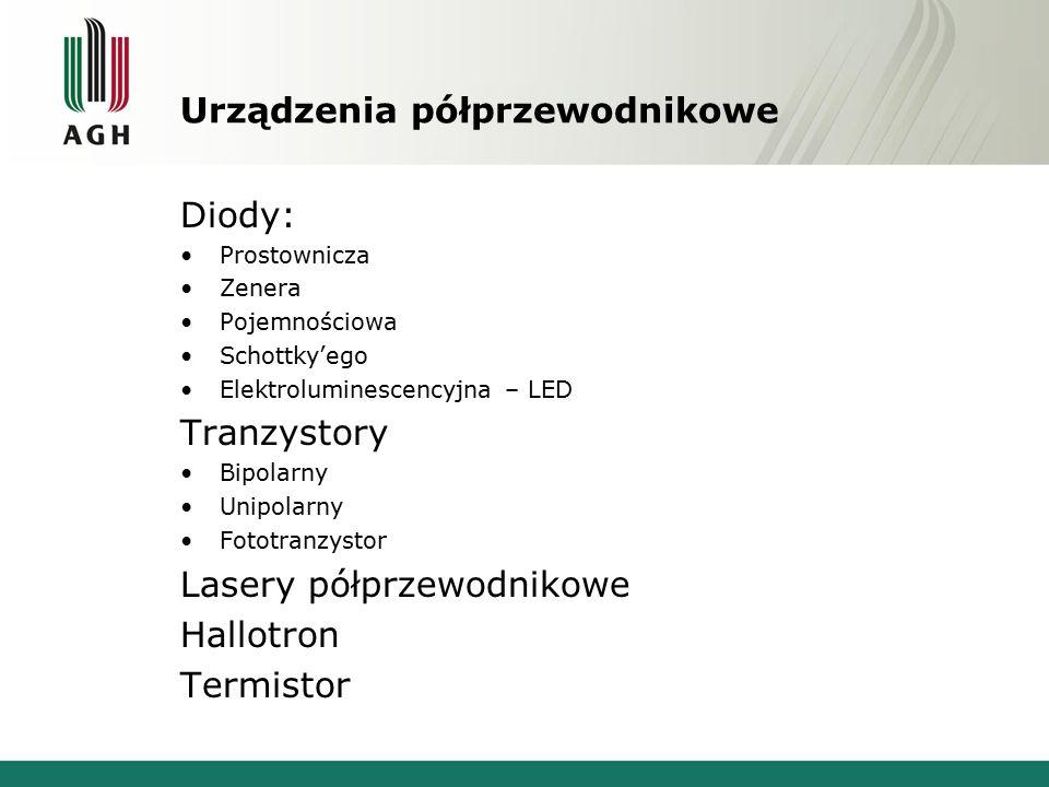 Urządzenia półprzewodnikowe Diody: Prostownicza Zenera Pojemnościowa Schottky'ego Elektroluminescencyjna – LED Tranzystory Bipolarny Unipolarny Fototr