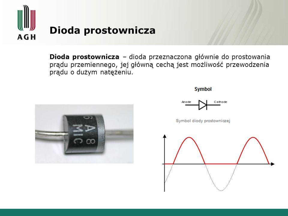 Dioda prostownicza Dioda prostownicza – dioda przeznaczona głównie do prostowania prądu przemiennego, jej główną cechą jest możliwość przewodzenia prą