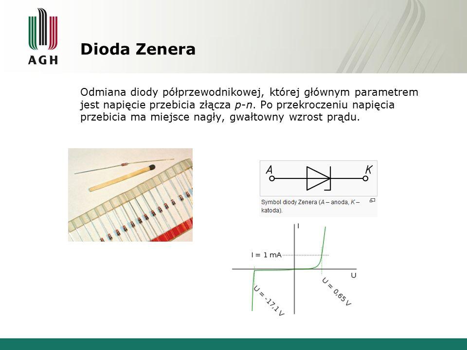 Dioda Zenera Odmiana diody półprzewodnikowej, której głównym parametrem jest napięcie przebicia złącza p-n. Po przekroczeniu napięcia przebicia ma mie