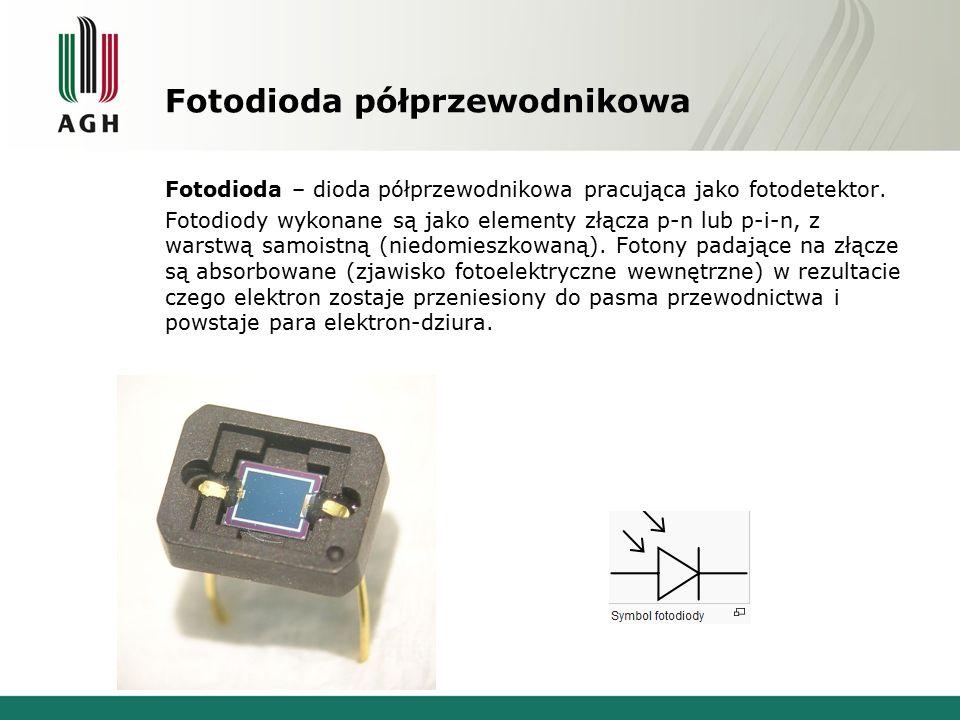 Fotodioda półprzewodnikowa Fotodioda – dioda półprzewodnikowa pracująca jako fotodetektor. Fotodiody wykonane są jako elementy złącza p-n lub p-i-n, z