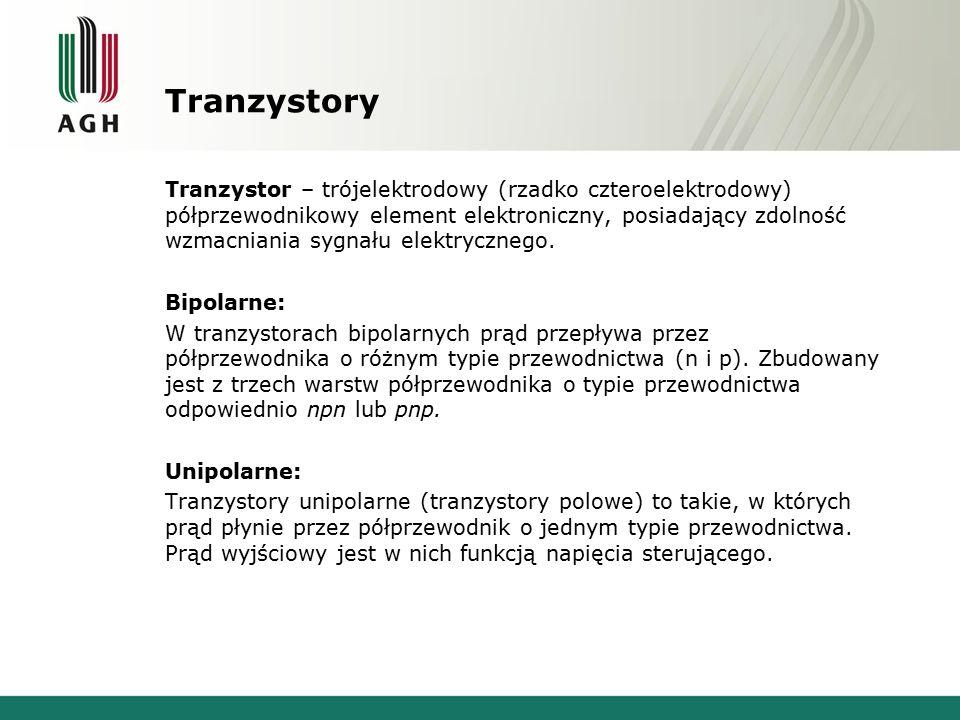 Tranzystory Tranzystor – trójelektrodowy (rzadko czteroelektrodowy) półprzewodnikowy element elektroniczny, posiadający zdolność wzmacniania sygnału e