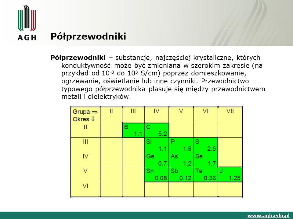 Półprzewodniki Półprzewodniki – substancje, najczęściej krystaliczne, których konduktywność może być zmieniana w szerokim zakresie (na przykład od 10