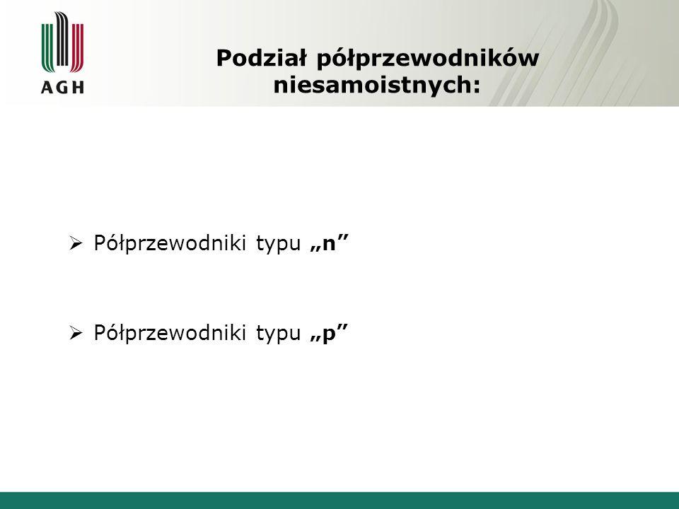 """Podział półprzewodników niesamoistnych:  Półprzewodniki typu """"n""""  Półprzewodniki typu """"p"""""""