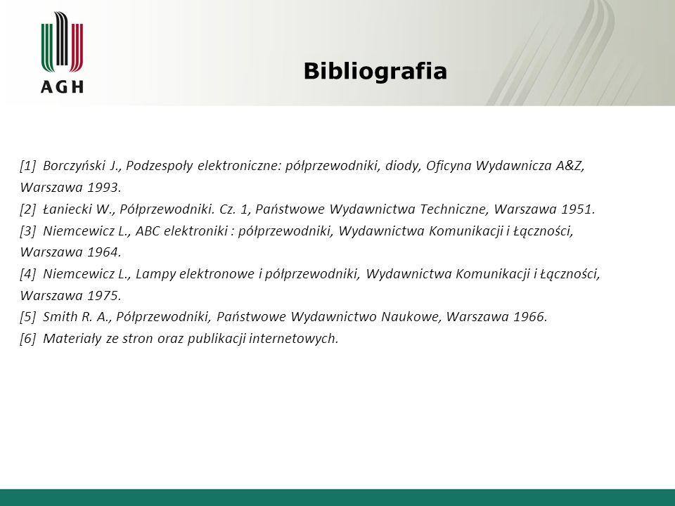 Bibliografia [1] Borczyński J., Podzespoły elektroniczne: półprzewodniki, diody, Oficyna Wydawnicza A&Z, Warszawa 1993. [2] Łaniecki W., Półprzewodnik