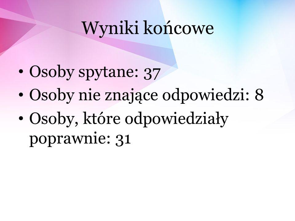 Wyniki końcowe Osoby spytane: 37 Osoby nie znające odpowiedzi: 8 Osoby, które odpowiedziały poprawnie: 31