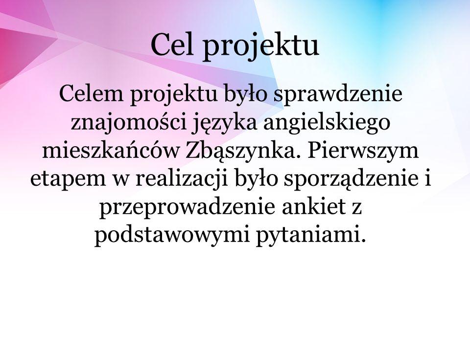 Cel projektu Celem projektu było sprawdzenie znajomości języka angielskiego mieszkańców Zbąszynka.
