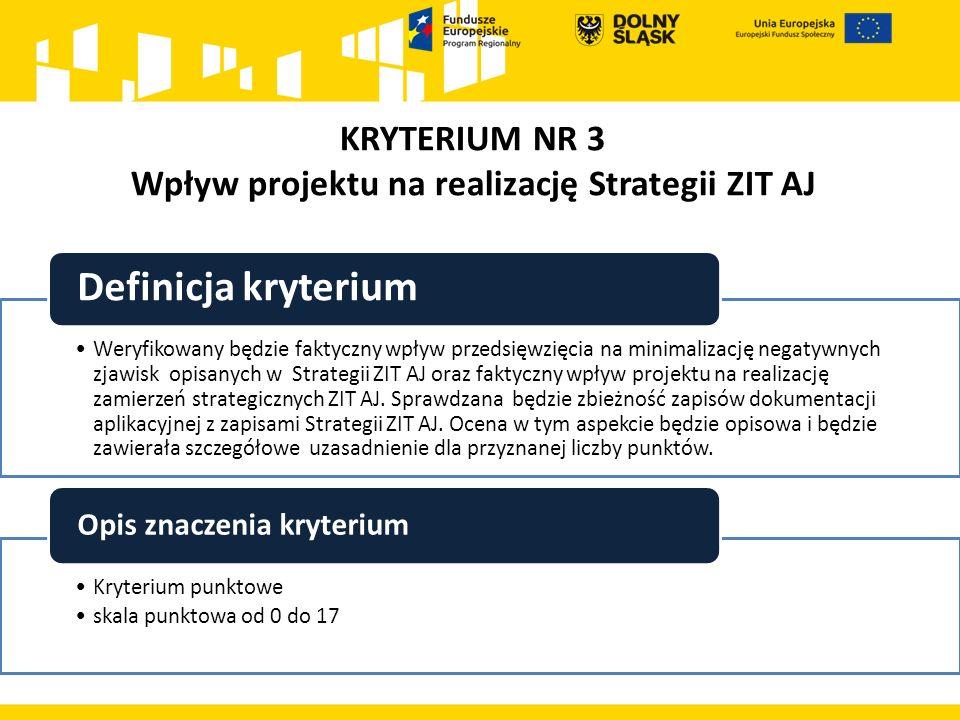KRYTERIUM NR 3 Wpływ projektu na realizację Strategii ZIT AJ Weryfikowany będzie faktyczny wpływ przedsięwzięcia na minimalizację negatywnych zjawisk