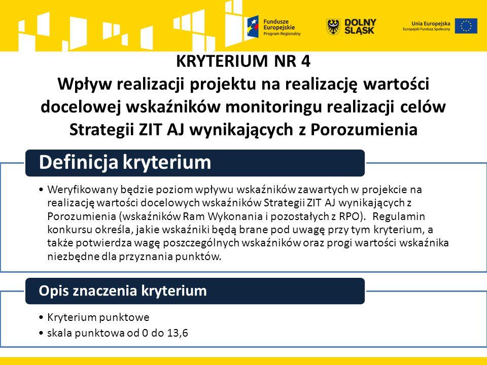 KRYTERIUM NR 4 Wpływ realizacji projektu na realizację wartości docelowej wskaźników monitoringu realizacji celów Strategii ZIT AJ wynikających z Poro