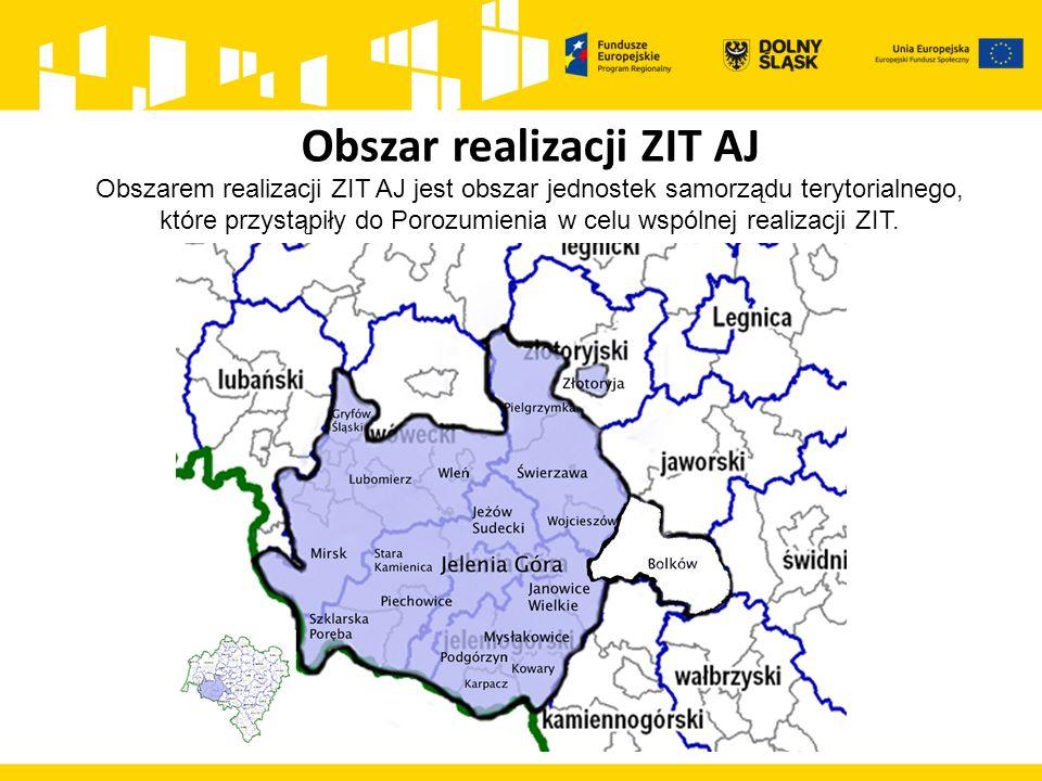 Obszar realizacji ZIT AJ Obszarem realizacji ZIT AJ jest obszar jednostek samorządu terytorialnego, które przystąpiły do Porozumienia w celu wspólnej
