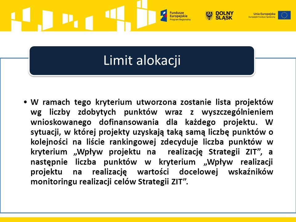 W ramach tego kryterium utworzona zostanie lista projektów wg liczby zdobytych punktów wraz z wyszczególnieniem wnioskowanego dofinansowania dla każde
