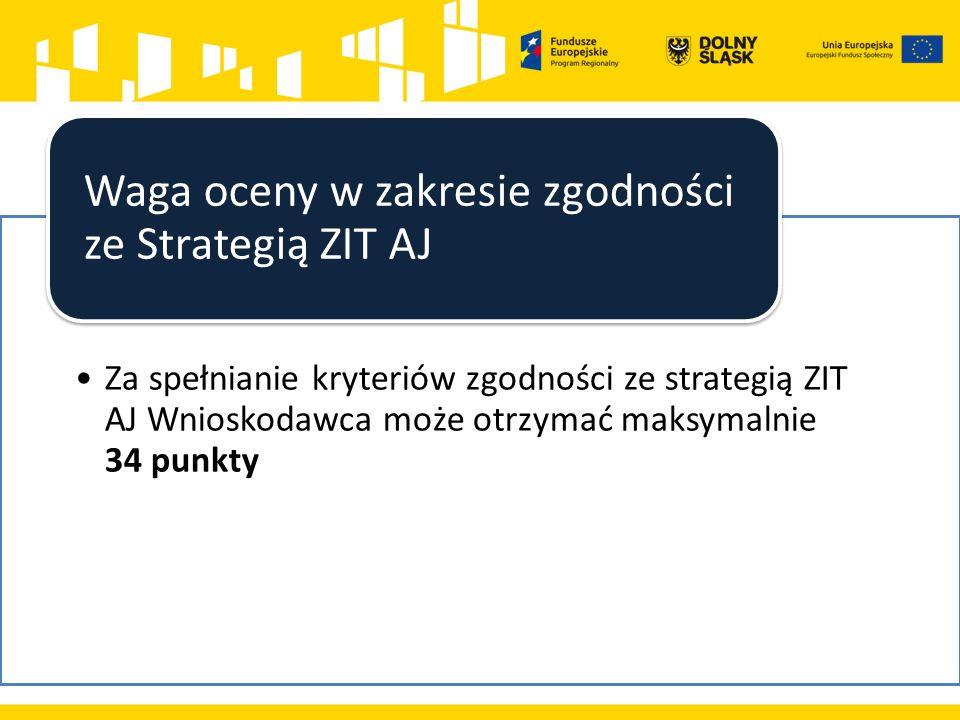 Za spełnianie kryteriów zgodności ze strategią ZIT AJ Wnioskodawca może otrzymać maksymalnie 34 punkty Waga oceny w zakresie zgodności ze Strategią ZIT AJ