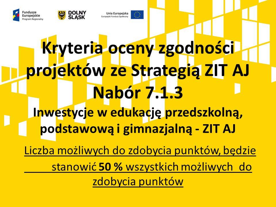 Kryteria oceny zgodności projektów ze Strategią ZIT AJ Nabór 7.1.3 Inwestycje w edukację przedszkolną, podstawową i gimnazjalną - ZIT AJ Liczba możliw