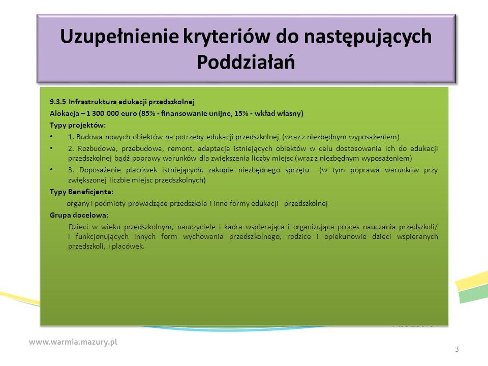 Kryteria merytoryczne (premiujące) Komplementarność projektu Nazwa Weryfikowana będzie komplementarność projektu z innymi przedsięwzięciami już zrealizowanymi, w trakcie realizacji lub wybranych do realizacji i współfinansowanych ze środków zagranicznych i polskich m.in.