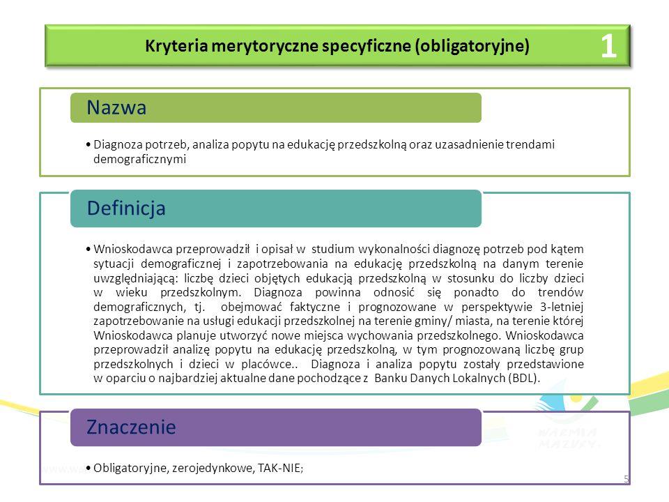 Kryteria merytoryczne (premiujące) Doświadczenie w realizacji podobnych projektów Nazwa Weryfikowane będzie doświadczenie Wnioskodawcy i/lub partnerów w realizacji podobnych projektów lub przedsięwzięć współfinansowanych ze środków europejskich od roku 2007.
