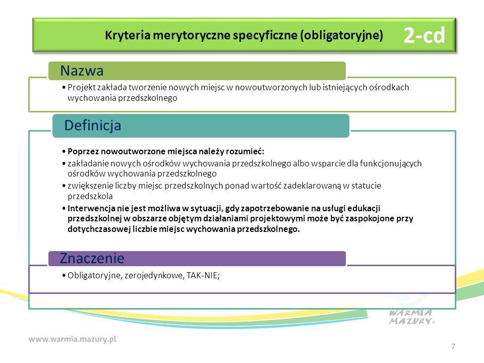 Kryteria merytoryczne specyficzne (obligatoryjne) Trwałość finansowa inwestycji i zdolność do jej funkcjonowania w przyszłości (po zakończeniu finansowania środkami zewnętrznymi) Nazwa Wnioskodawca wykazał, iż planowane przedsięwzięcie zapewni trwałość finansową inwestycji i zdolność do jej funkcjonowania w przyszłości (po zakończeniu finansowania środkami zewnętrznymi).
