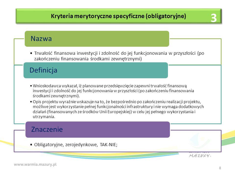 Kryteria merytoryczne specyficzne (obligatoryjne) Zgodność projektu z celami Działania 2.1 Zapewnienie równego dostępu do wysokiej jakości edukacji przedszkolnej osi 2 Kadry dla gospodarki RPO WiM 2014-2020 Nazwa Ocenie podlega, czy Wnioskodawca w studium wykonalności wykazał, iż projekt jest komplementarny z celami lub działaniami przewidzianymi w ramach Działania 2.1 Zapewnienie równego dostępu do wysokiej jakości edukacji przedszkolnej osi 2 Kadry dla gospodarki RPO WiM 2014-2020, którego celem jest zwiększenie dostępności i jakości edukacji przedszkolnej w województwie warmińsko-mazurskim.
