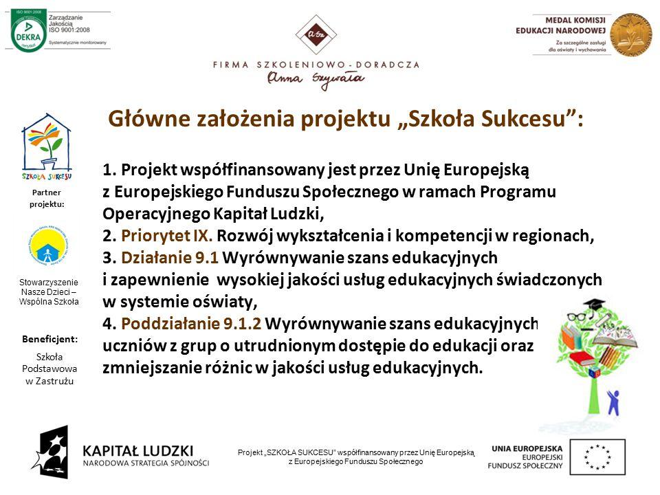 """3 Partner projektu: Projekt """"SZKOŁA SUKCESU współfinansowany przez Unię Europejską z Europejskiego Funduszu Społecznego 1."""