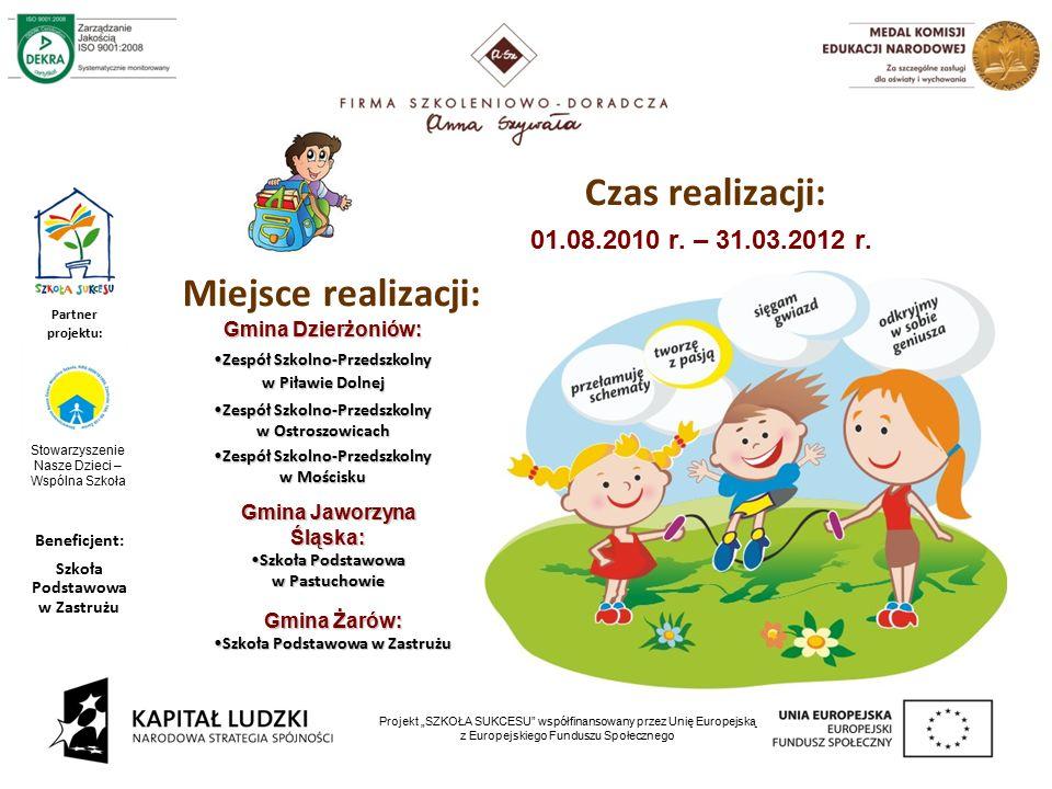 """4 Projekt """"SZKOŁA SUKCESU współfinansowany przez Unię Europejską z Europejskiego Funduszu Społecznego Czas realizacji: 01.08.2010 r."""