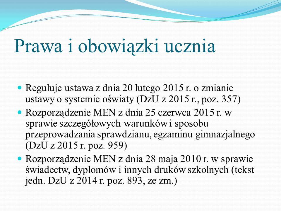 Prawa i obowiązki ucznia Reguluje ustawa z dnia 20 lutego 2015 r.