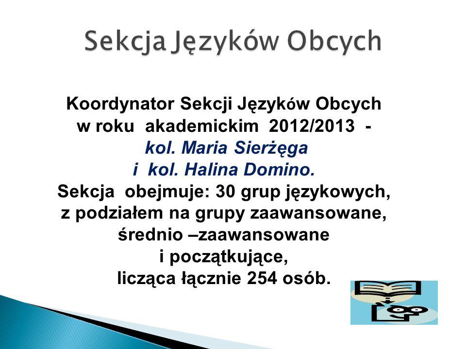 Koordynator Sekcji Język ó w Obcych w roku akademickim 2012/2013 - kol. Maria Sierżęga i kol. Halina Domino. Sekcja obejmuje: 30 grup językowych, z po