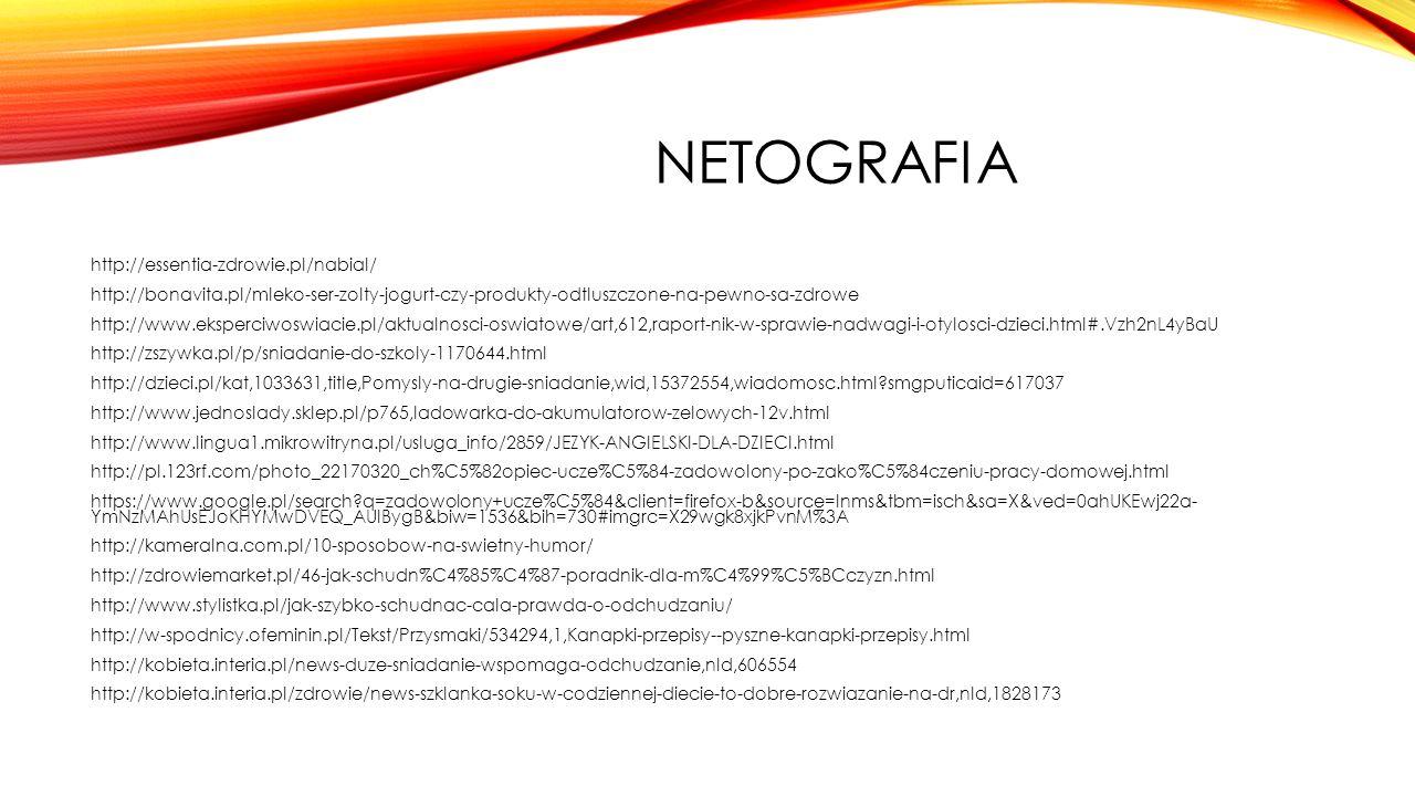 NETOGRAFIA http://essentia-zdrowie.pl/nabial/ http://bonavita.pl/mleko-ser-zolty-jogurt-czy-produkty-odtluszczone-na-pewno-sa-zdrowe http://www.eksperciwoswiacie.pl/aktualnosci-oswiatowe/art,612,raport-nik-w-sprawie-nadwagi-i-otylosci-dzieci.html#.Vzh2nL4yBaU http://zszywka.pl/p/sniadanie-do-szkoly-1170644.html http://dzieci.pl/kat,1033631,title,Pomysly-na-drugie-sniadanie,wid,15372554,wiadomosc.html?smgputicaid=617037 http://www.jednoslady.sklep.pl/p765,ladowarka-do-akumulatorow-zelowych-12v.html http://www.lingua1.mikrowitryna.pl/usluga_info/2859/JEZYK-ANGIELSKI-DLA-DZIECI.html http://pl.123rf.com/photo_22170320_ch%C5%82opiec-ucze%C5%84-zadowolony-po-zako%C5%84czeniu-pracy-domowej.html https://www.google.pl/search?q=zadowolony+ucze%C5%84&client=firefox-b&source=lnms&tbm=isch&sa=X&ved=0ahUKEwj22a- YmNzMAhUsEJoKHYMwDVEQ_AUIBygB&biw=1536&bih=730#imgrc=X29wgk8xjkPvnM%3A http://kameralna.com.pl/10-sposobow-na-swietny-humor/ http://zdrowiemarket.pl/46-jak-schudn%C4%85%C4%87-poradnik-dla-m%C4%99%C5%BCczyzn.html http://www.stylistka.pl/jak-szybko-schudnac-cala-prawda-o-odchudzaniu/ http://w-spodnicy.ofeminin.pl/Tekst/Przysmaki/534294,1,Kanapki-przepisy--pyszne-kanapki-przepisy.html http://kobieta.interia.pl/news-duze-sniadanie-wspomaga-odchudzanie,nId,606554 http://kobieta.interia.pl/zdrowie/news-szklanka-soku-w-codziennej-diecie-to-dobre-rozwiazanie-na-dr,nId,1828173