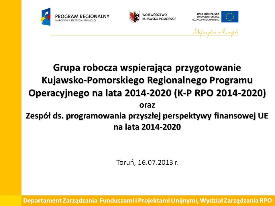 Grupa robocza wspierająca przygotowanie Kujawsko-Pomorskiego Regionalnego Programu Operacyjnego na lata 2014-2020 (K-P RPO 2014-2020) Zespół ds. progr