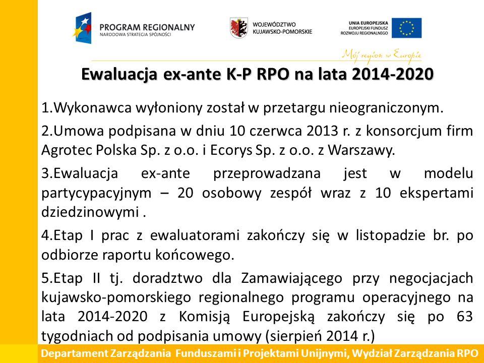 Departament Zarządzania Funduszami i Projektami Unijnymi, Wydział Zarządzania RPO Ewaluacja ex-ante K-P RPO na lata 2014-2020 1.Wykonawca wyłoniony został w przetargu nieograniczonym.