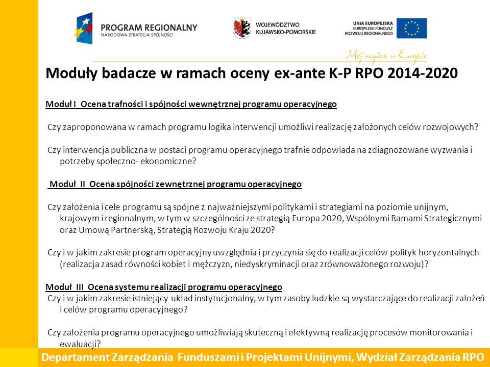 Departament Zarządzania Funduszami i Projektami Unijnymi, Wydział Zarządzania RPO Moduły badacze w ramach oceny ex-ante K-P RPO 2014-2020 Moduł I Ocen