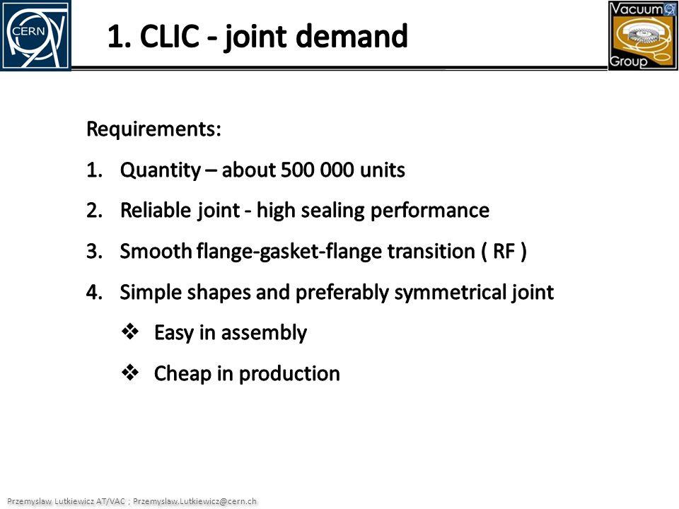 Existing design concept Przemyslaw Lutkiewicz AT/VAC gasket flange CLIC gasket vs 2 CHF coin