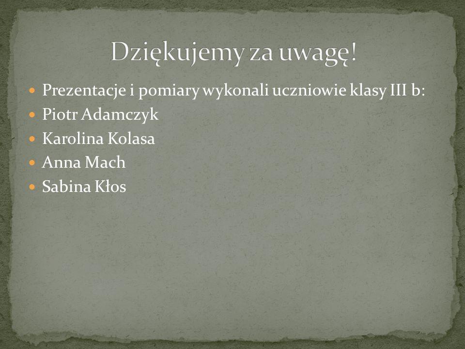 Prezentacje i pomiary wykonali uczniowie klasy III b: Piotr Adamczyk Karolina Kolasa Anna Mach Sabina Kłos