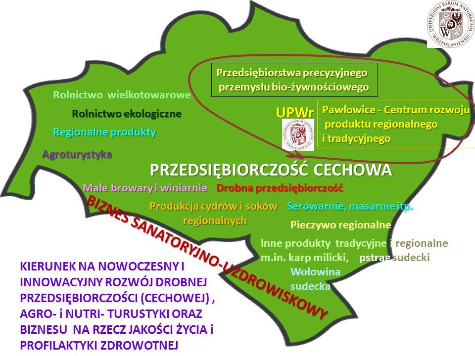 UPWr Przedsiębiorstwa precyzyjnego przemysłu bio-żywnościowego przemysłu bio-żywnościowego Małe browary i winiarnie Produkcja cydrów i soków regionalnych regionalnych Rolnictwo ekologiczne PRZEDSIĘBIORCZOŚĆ CECHOWA Agroturystyka Inne produkty tradycyjne i regionalne m.in.